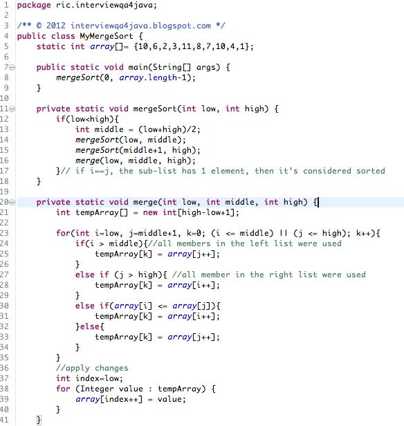 sort code in java