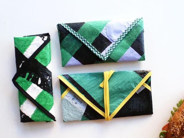 bolsa para bocadillo con bolsas recicladas