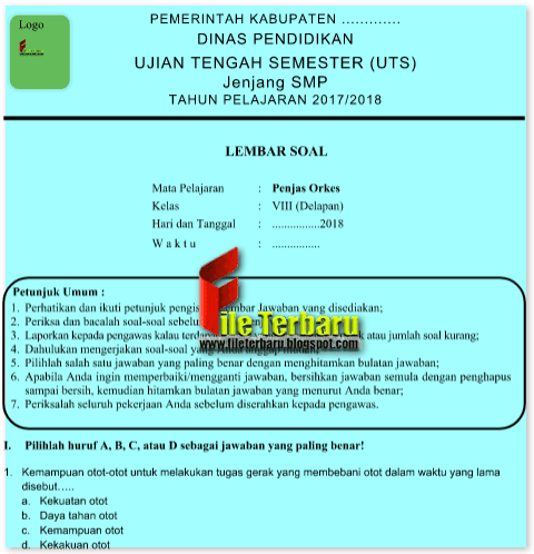 Soal UTS Penjaskes / PJOK Kelas 8 Semester 2 Lengkap ...