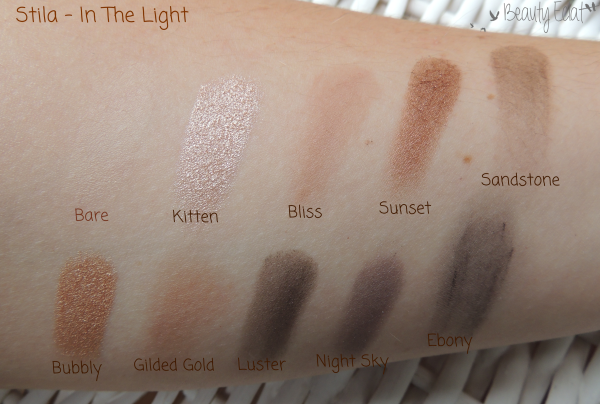revue avis test palette stila in the light swatch