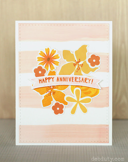 happy anniversary card with flower stamps