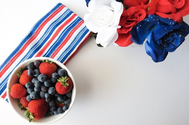 Red, White, and Blue Roses, Fruit, Napkins