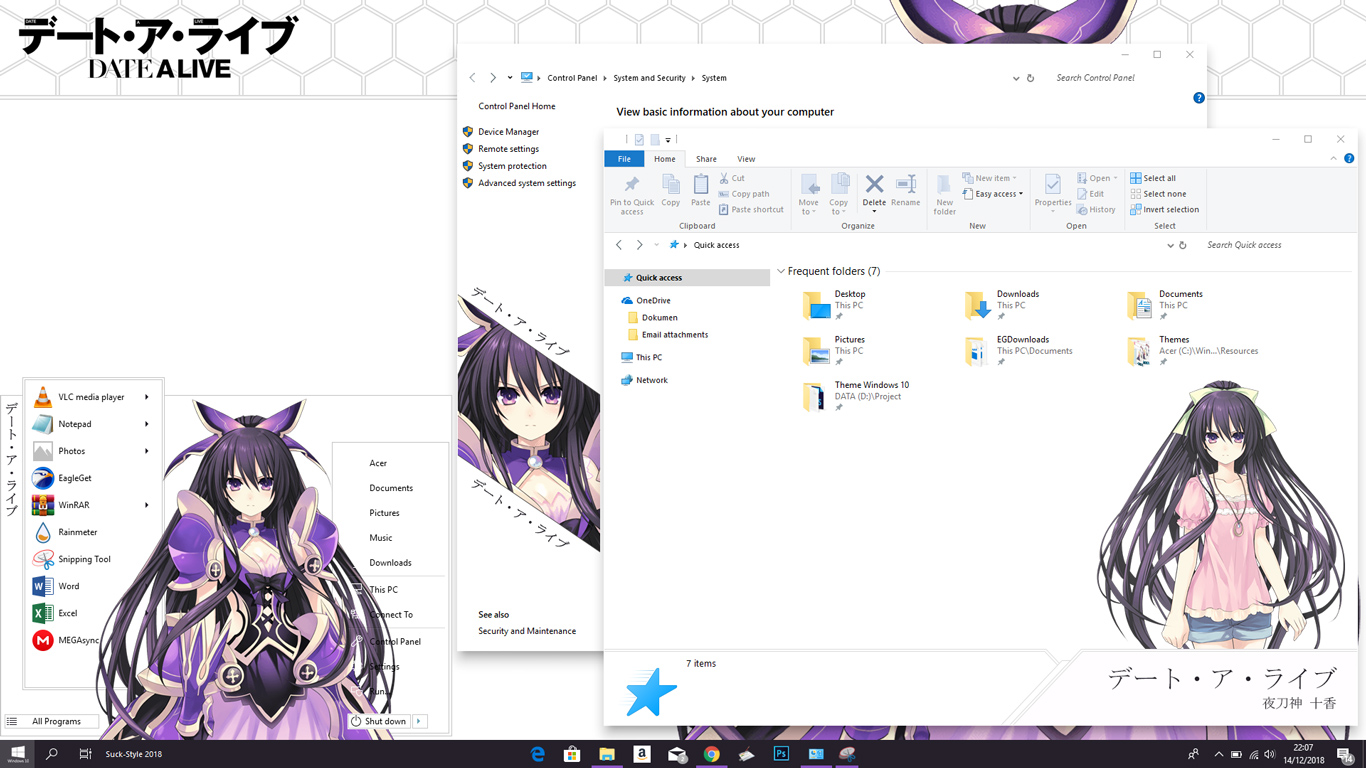 Theme Anime Windows 10 1803 Yatogami Tohka Date a Live