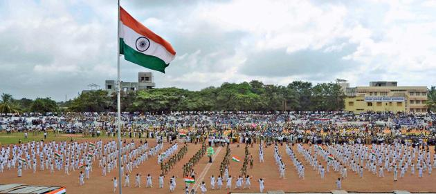 School Children Celebrating Independence day