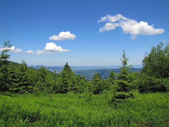 Widok na północny wschód z polany pod Jaworzyną.