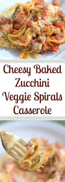CHEESY BAKED ZUCCHINI VEGGIE SPIRALS CASSEROLE