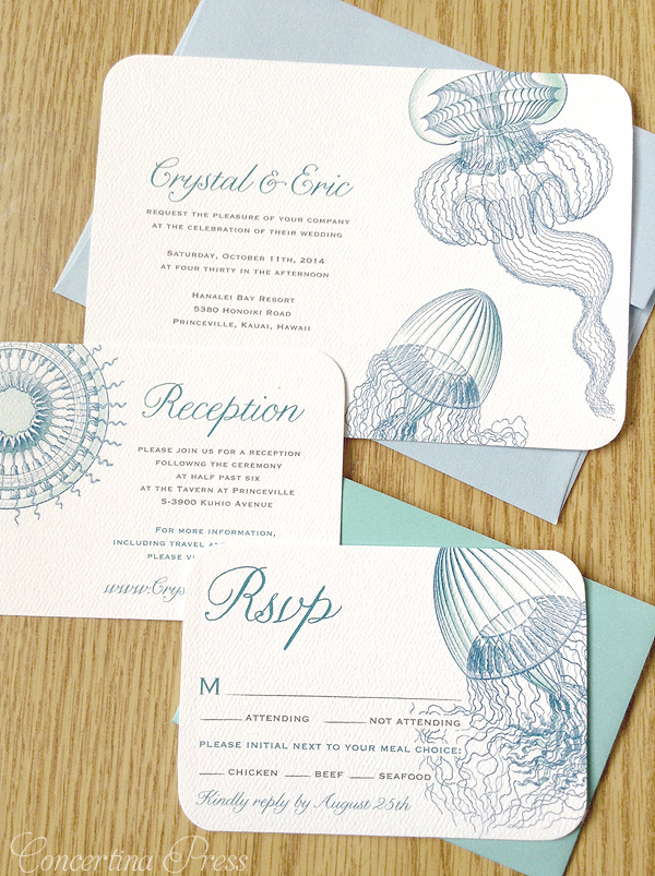 Jellyfish wedding invitations for a beach wedding in Hawaii