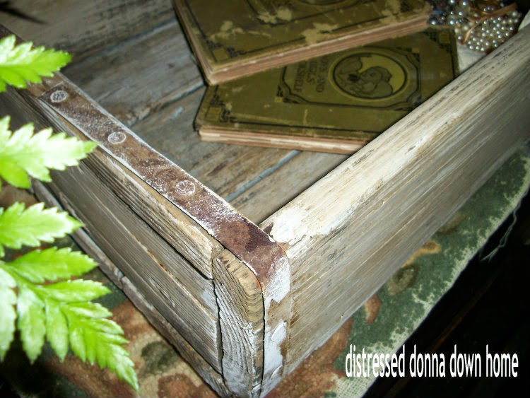 repurposing a large crate, distress painting, vintage box