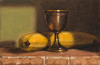 Oil painting of a banana beside a silver-plated egg cup with stem.