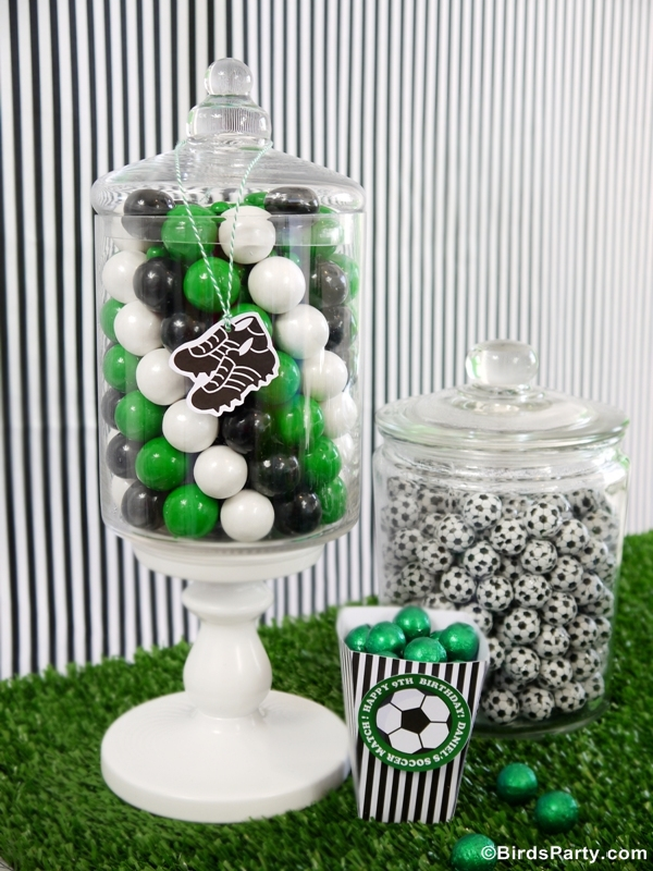 DIY Funky Football Soccer Candy Display - BirdsParty.com