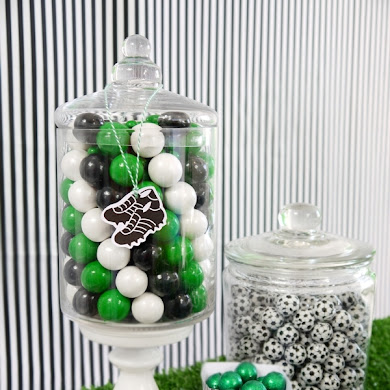 DIY Funky Football Soccer Candy Display