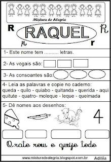 Brincando com o nome Raquel