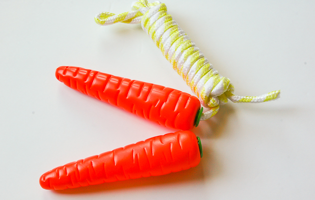 Cutting jump rope off Dollar Store carrot jump rope