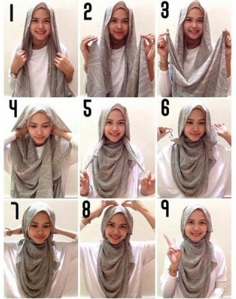 gambar tutorial hijab sederhana