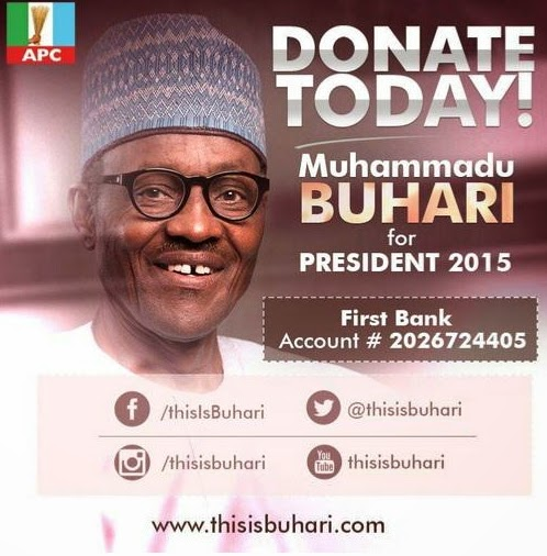 buhari donation bank account