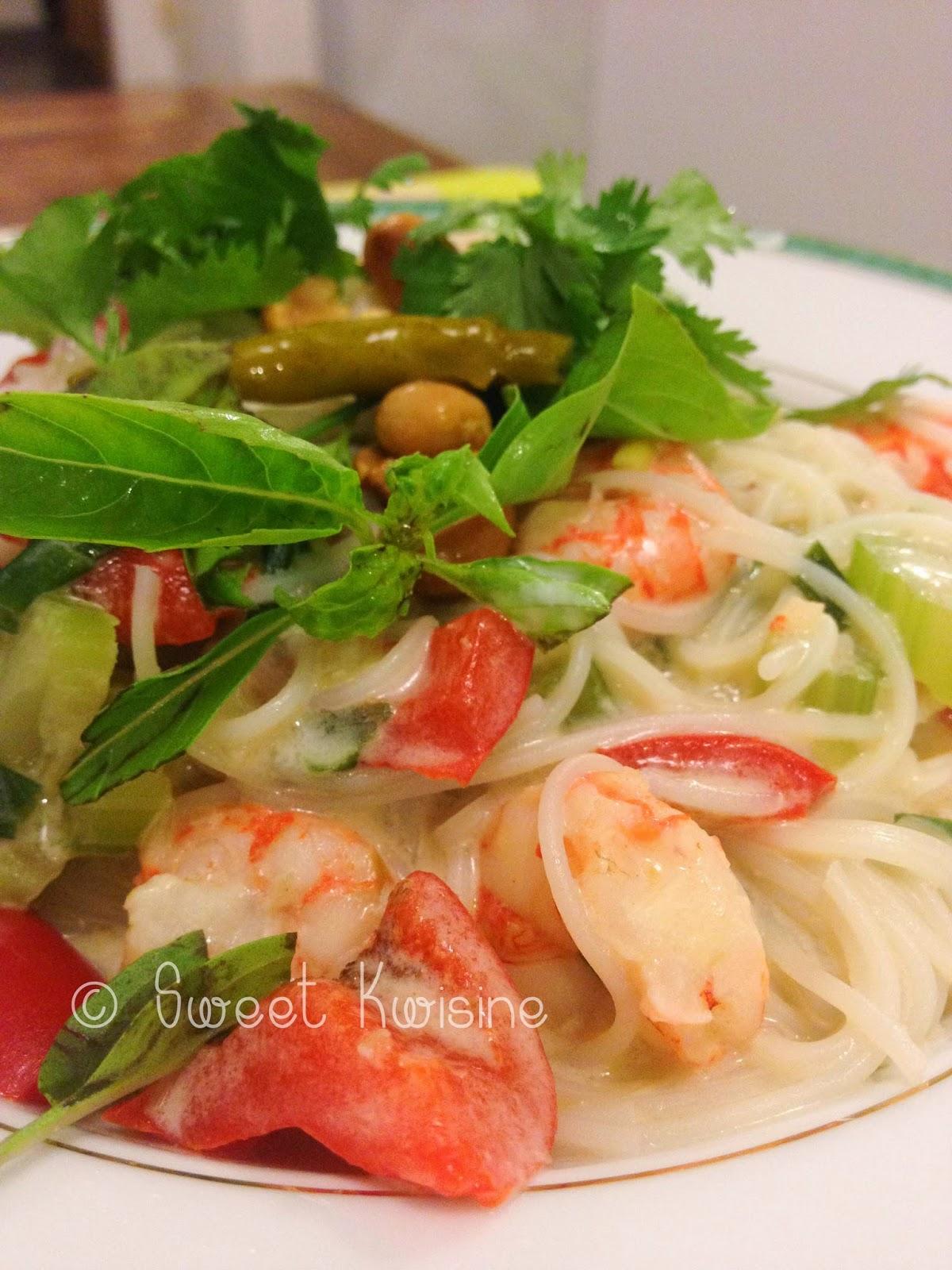 Sweet Kwisine, nouilles, crevette, lait de coco, cuisine asiatique, coriandre, cèleri, piment, cuisine facile