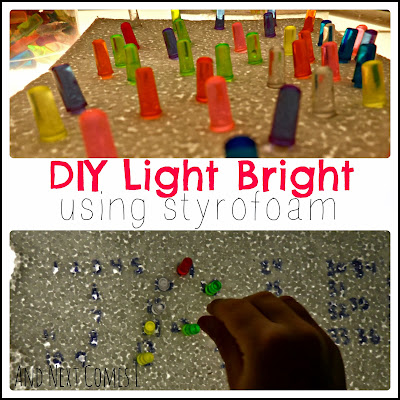 DIY light bright using styrofoam on the light table is a perfect fine motor activity for toddlers and preschoolers from And Next Comes L