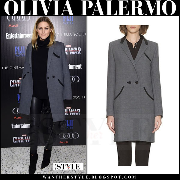 Olivia Palermo in grey whistles tux tuxedo coat and black leather pants what she wore red carpet screening