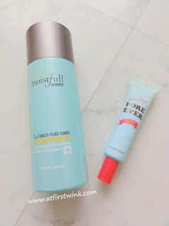 Etude House Collagen Moistfull Homme 3 in 1 multi-fluid toner and the Pore Ever Pore Primer Essence out of packaging