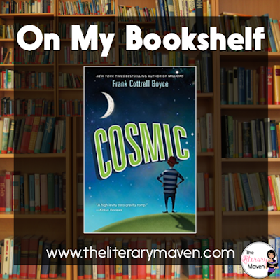 Cosmic by Frank Cottrell Boyce alternates between the present action, Liam lost in outer space with four other children, and the past events leading up to his adventure gone wrong. Liam is frequently mistaken for an adult, which has its benefits, but when he wins a trip to ride an exciting new thrill ride, which turns out to be a trip into outer space, he may have finally let things go a little too far. Read on for more of my review and ideas for classroom application.