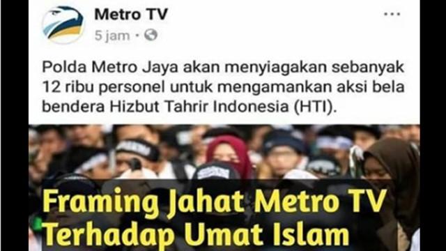 Media Lain Sebut Aksi Bela Tauhid, MetroTV Sebut Aksi Bela Bendera HTI