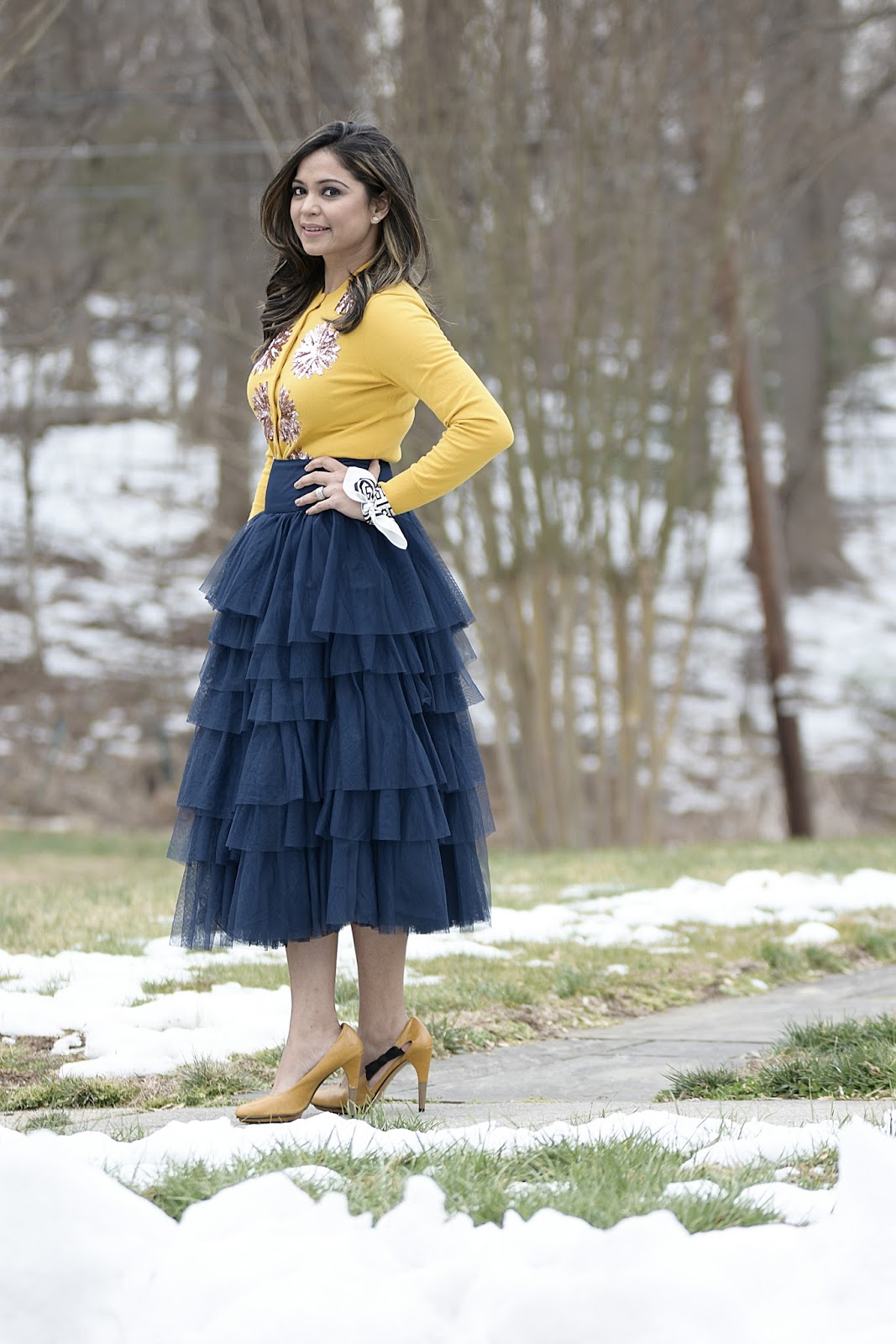beauty and the beast, outfit of the day, whimsical dressing, street style, tulle skirt outfit, blue tulle skirt, fashion, style, blogger, dmv blogger, fashion stylist, holiday dressing,  skirt outfit, J crew yellow sequin cardigan, ASOS tulle skirt 4