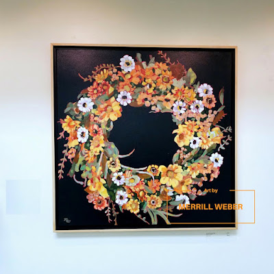 Circle of Gratitude original acrylic floral wreath painting by Pennsylvania artist Merrill Weber framed
