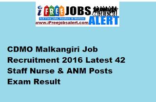 CDMO Malkangiri Job Recruitment 2016 Latest 42 Staff Nurse & ANM Posts Exam Result