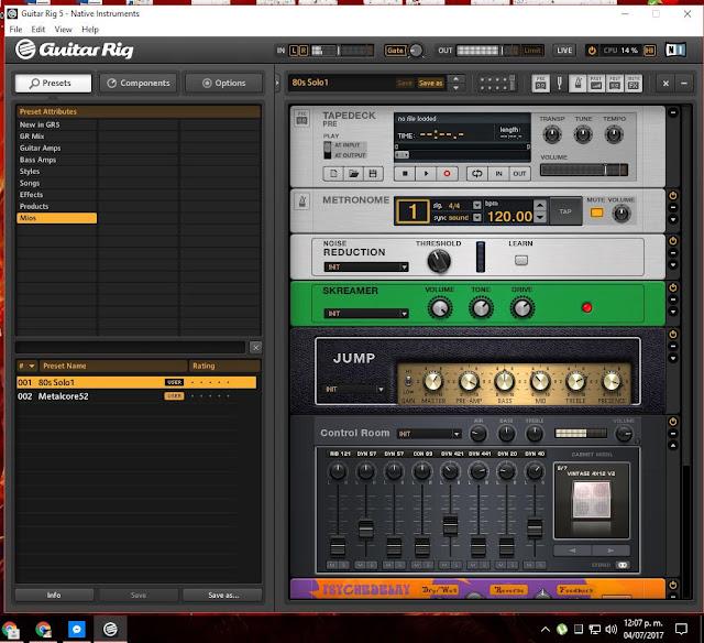 Guitar Rig 5 en Windosw 10 Pro x64 v1703.