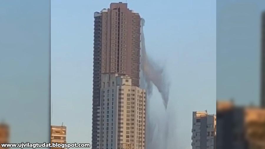 Kiloccsant egy felhőkarcoló tetején található medencéből a víz, amikor 6-os erősségű földrengés rázta meg a Fülöp-szigeteket