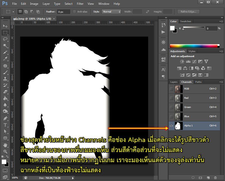 การแก้ไขภาพ Alpha โดยใช้โปรแกรม Adobe Photoshop