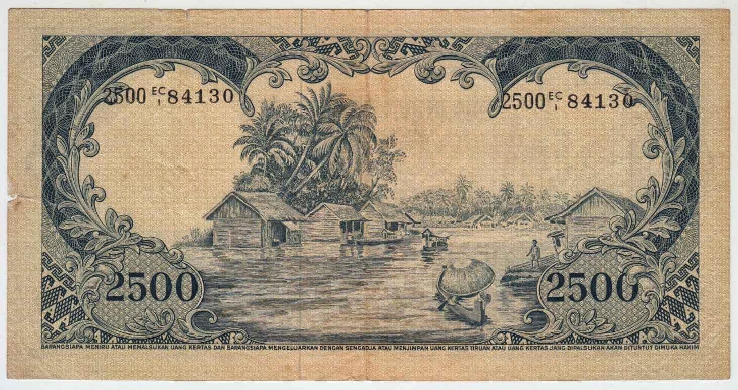 uang kuno Seri Hewan tahun 1957 pecahan 2500 rupiah