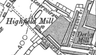 Highfield Mill, OS map, 1910.