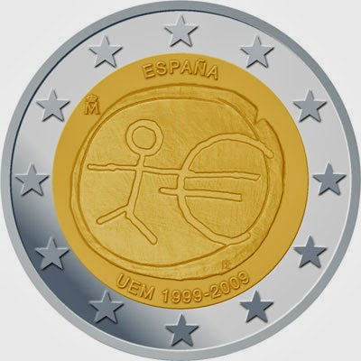 2 Euro Commemorative Coins Spain 2009 Economic Monetary Union