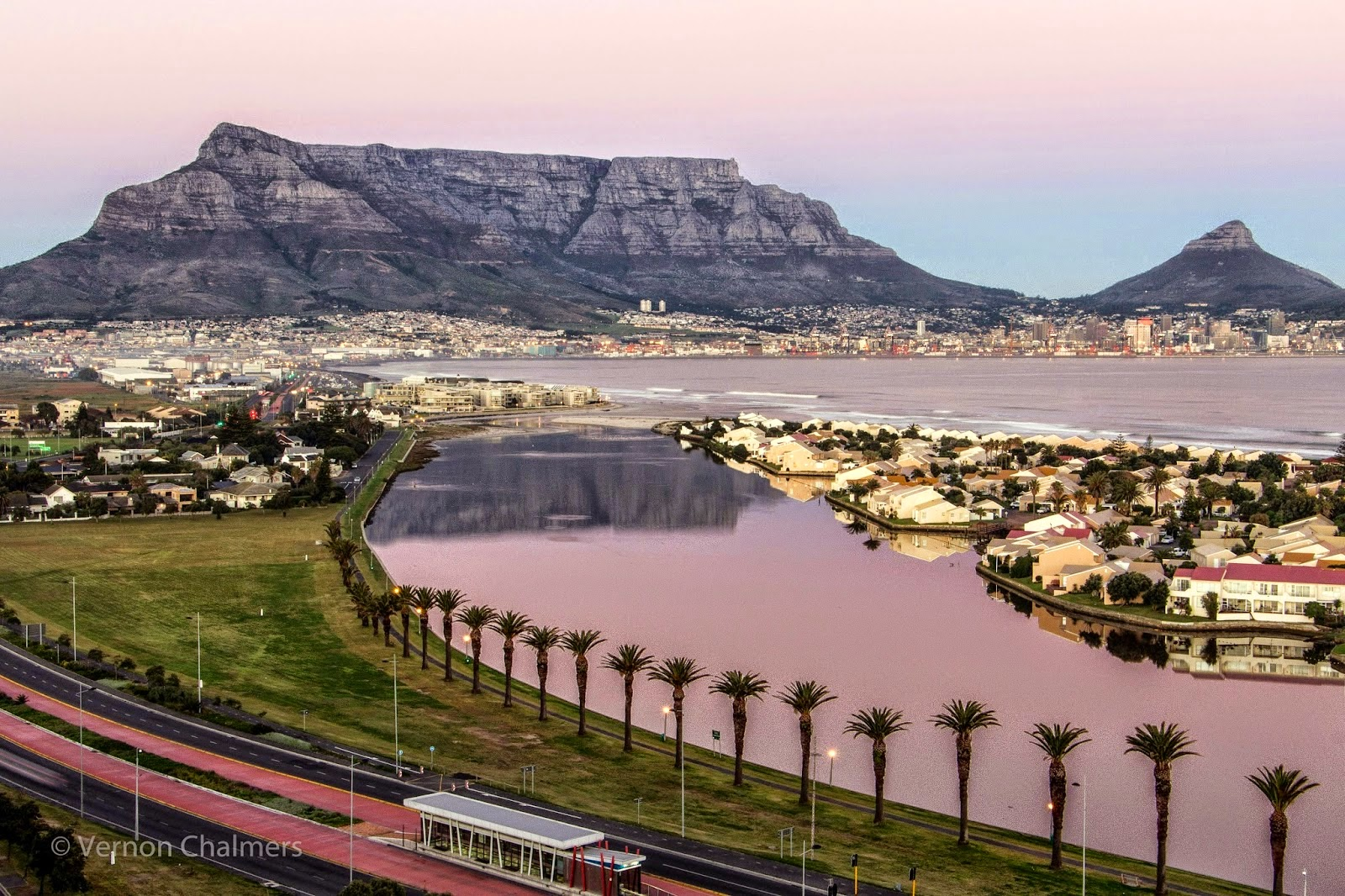 Copyright Vernon Chalmers: Sunrise Table Mountain Cape Town - Over Milnerton Lagoon / Woodbridge Island
