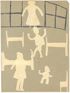 Collage image of children flying through the window