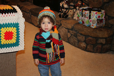 af1aa6a7c19 And here is my little guy modeling his new hat and scarf grandma made him.  They fit perfectly  ) Then for anyone who is wondering