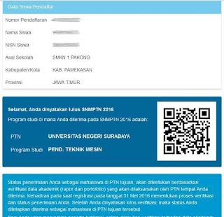 Pengumuman Hasil Seleksi SNMPTN 2016  Lulus