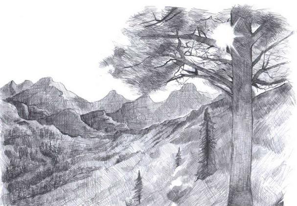 Contoh Lukisan Sketsa Pemandangan Yang Mudah Ditiru Atau Digambar