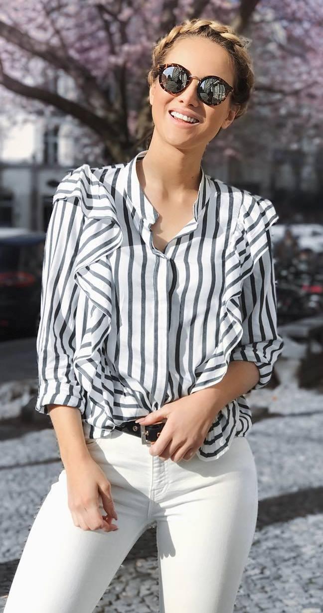 fashionable outfit idea: blouse + pants
