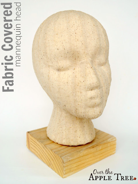 Fabric Covered Mannequin Head for displaying crochet hats by Over The Apple Tree