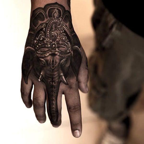 Imagen de un tatuaje de elefante budista