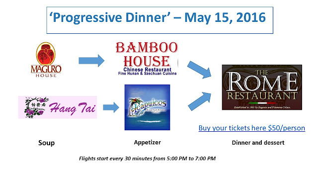 Progressive Dinner - choose your soup/appetizer flight and finish with dinner/dessert at The Rome