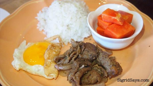 beef tapa at Merkado organic restaurant