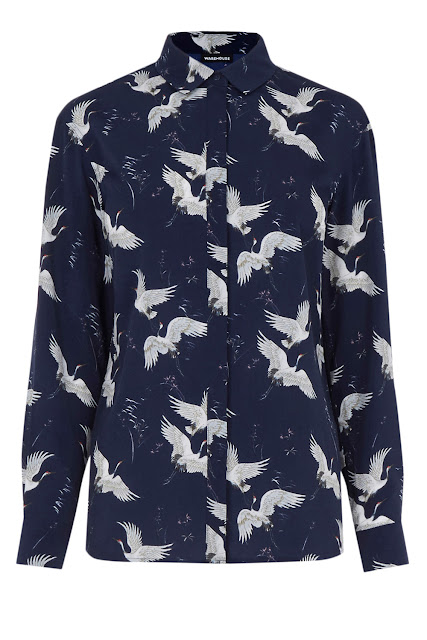 warehouse bird print shirt,