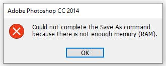 penyebab dan cara mengatasi Could Not Complete The Save  as Command Because There Is Not Enough Memory photoshop cc
