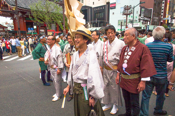 Some senior members of the Sanja Matsuri procession, Asakusa, Tokyo, 2016.