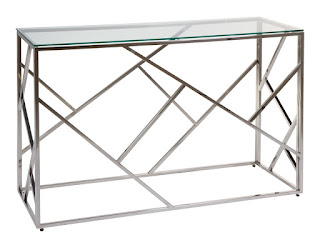 mueble recibidor acero y cristal