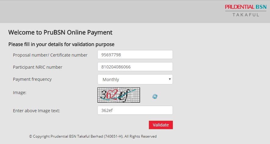 Cara bayar Insurans Prudential BSN Takaful secara online