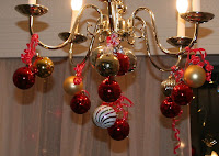 Christmas decor for chandelier